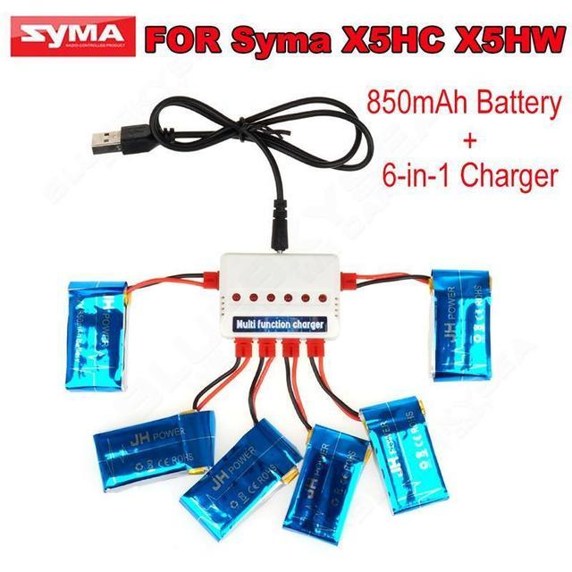 Бесплатная доставка! 6 шт. 850 мАч Lipo Батареи и 6in1 Зарядное Устройство Коробка Набор для Syma X5HW X5HC RC Quadcopter