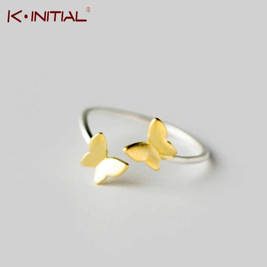 Kinitial 925แหวนเงินทองผีเสื้อเปิดแหวนMidiก้อยนิ้วเท้านิ้วมือแหวนA Nilloสำหรับสุภาพสตรีผู้หญิงคริสต์มาสเครื่องประดับ