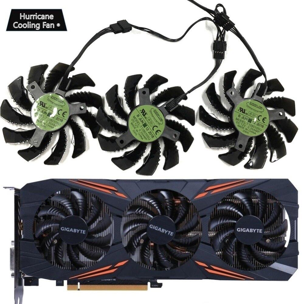75 MM T128010SU 0.35A Ventilador de Refrigeração para Gigabyte GTX 1060 GTX 1070 1080 G1 AORUS 1070Ti 1080Ti 960 970 980Ti cooler Fan Placa De vídeo