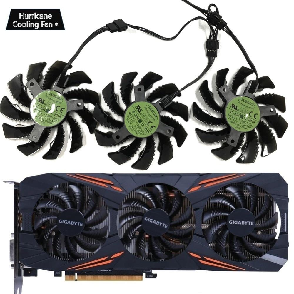 75MM T128010SU 0.35A Cooling Fan For Gigabyte AORUS GTX 1060 1070 1080 G1 GTX 1070Ti 1080Ti 960 970 980Ti Video Card Cooler Fan