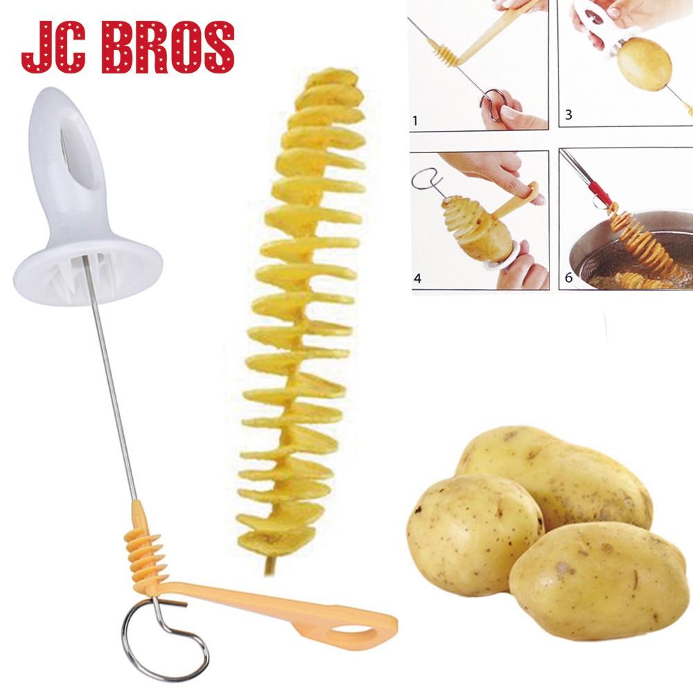 4 Spits Stainless Steel Tower Making Twist Shredder Tornado Potato Spiral Cutter Potatos Slicer Chips Kitchen Accessories Tools