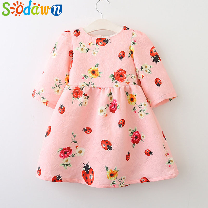 Sodawn New Autumn Fashion Childrens Clothing Baby Girl Dress Printing Cartoon Girls Clothes Princess Dress Kids Clothing
