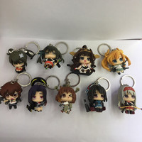 9pcs/set Kantai Collection Keychains Anime Action Figure PVC Collection Model toys brinquedos for christmas gift free shipping