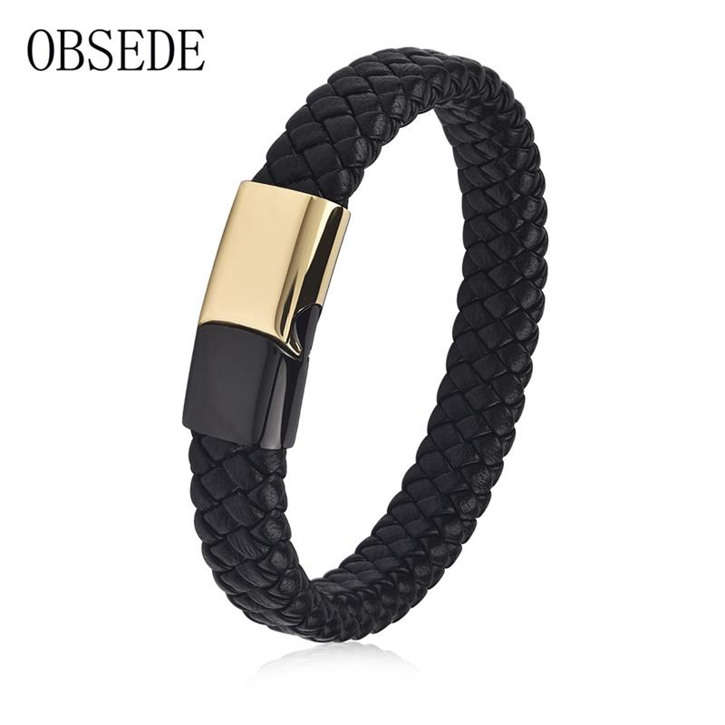 OBSEDE Fashion Braid Genuine Leather Bracelets for Women Men Gold Stainless Steel Magnetic Clasp Punk Rope Chain Wristband