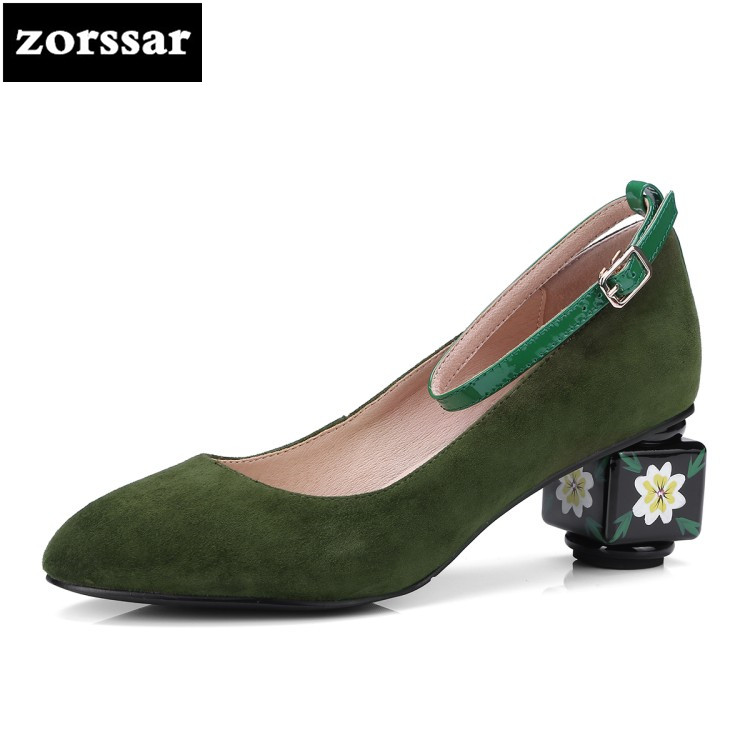 {Zorssar} 2018 New Fashion Flowers suede women heels pumps thick heel Pointed toe Ankle Strap High heels women's shoes big sizes wholesale lttl new spring summer high heels shoes stiletto heel flock pointed toe sandals fashion ankle straps women party shoes