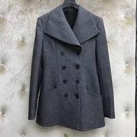 Двубортная серая куртка для женщин с длинным рукавом и круглым вырезом высокого качества элегантное женское однотонное пальто для зимы 2019