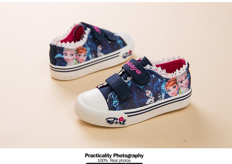 Princess Girls Shoes For Kids Fashion Elsa Anna Kids Shoes 2017 Ice Snow Queen Casual Denim Canvas Children Shoe Girl Sneakers 520 (4)