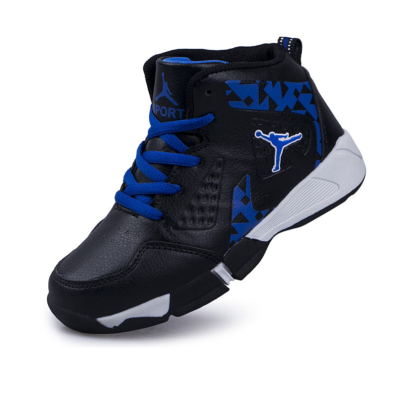 цена на Boys Basketball Shoes High-Top Athletic Breathable Outdoor Leather Sneakers Non-slip Traning Children Jogging Sport Shoes