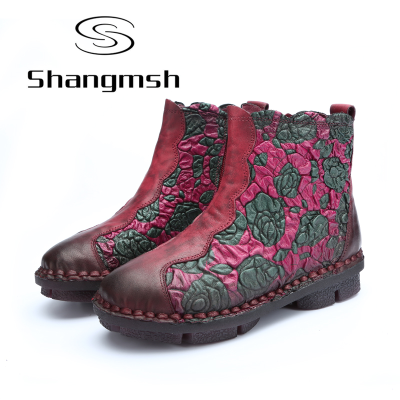 Shangmsh Floral Ankle Boots For Women Winter Genuine Leather Women's Boots Retro Handmade Comforable Shoes Footwear Large Size shangmsh brand women s winter boots 2017 retro handmade genuine leather ankle boots soft casual ladies autumn shoes