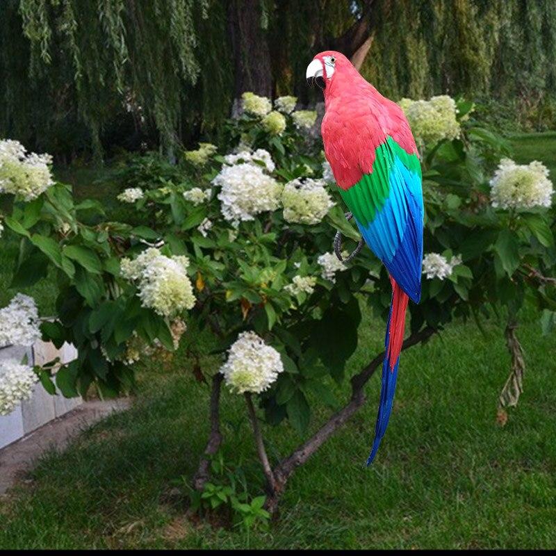 Vraie vie oiseau plumes perroquet énorme 100 cm couleur rouge perroquet maison jardin décoration partie prop jouet cadeau h1452