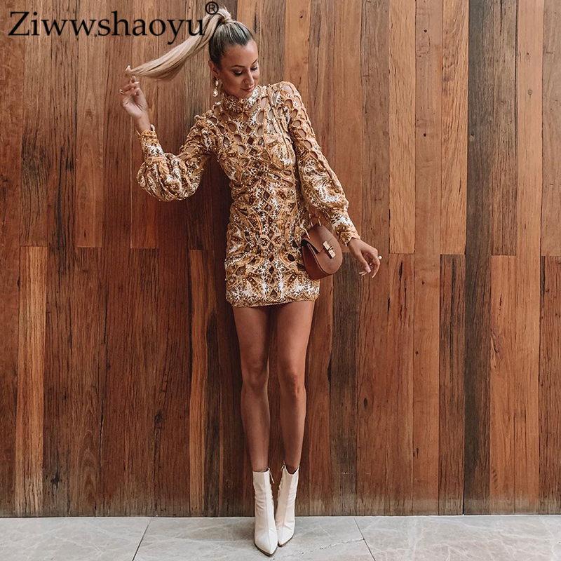 Ziwwshaoyu Vacation Print Puff Sleeve Mini dresses Sexy Hollow Out Beading dress Spring and summer new women's