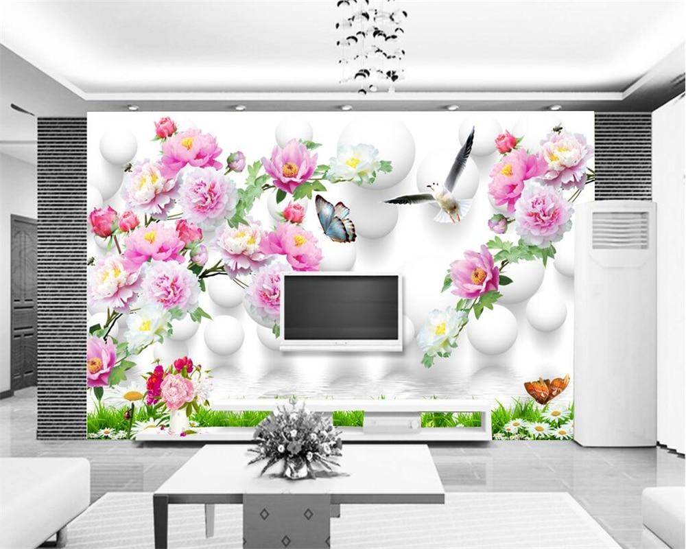 Beibehang Benutzerdefinierte Tapeten Start Dekorative Blossom Gefrorene  Pfingstrose 3D Dekorative TV Sofa Hintergrund Wandbild 3d Wallpaper In  Beibehang ...