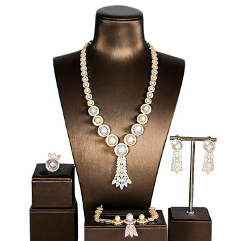 Dubai Women's New Luxury Silver And Multicolor Cubic Zirconium Jewelry Sets фото