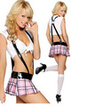 FREE SHIPPING Sexy Women School Girl Uniform Plaid Lingerie Cosplay Costume Sex Temptation Outfits Set