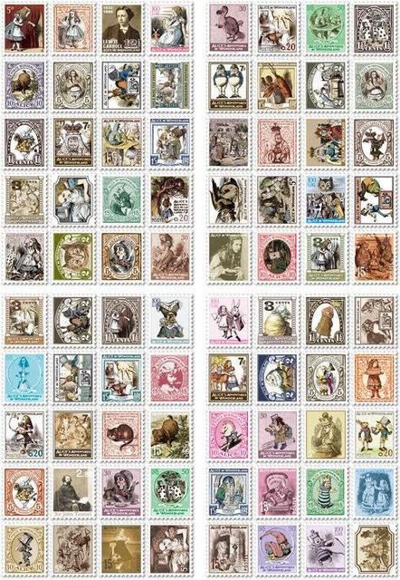 4 Pcs / Pack Diy Vintage Retro Paper Stickers Alice  Stamp Sticker For Diary Scrapbooking # (7321)