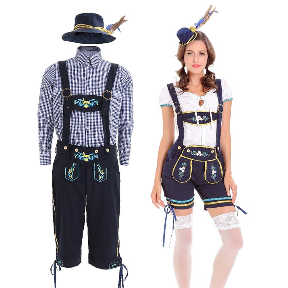 Halloween Party Oktoberfest Costume Women Men Uniform German Oktoberfest Beer Festival Adult Maid Stage Dress