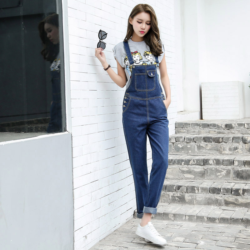 New Arrival Women Blue Denim Overall Multi Pocket Suspender Trousers Sweet Jeans Jumpsuits for Girls Size S-L kleider weit