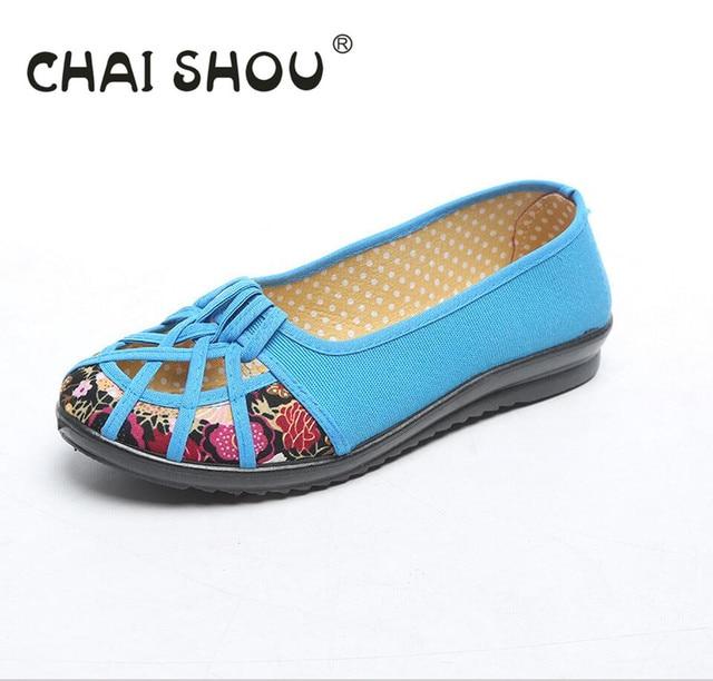 CHAISHOU женской обуви с квартиры снизу лето женщины туфли-полые вентиляции обуви пожилая мать chaussure пий size35-42