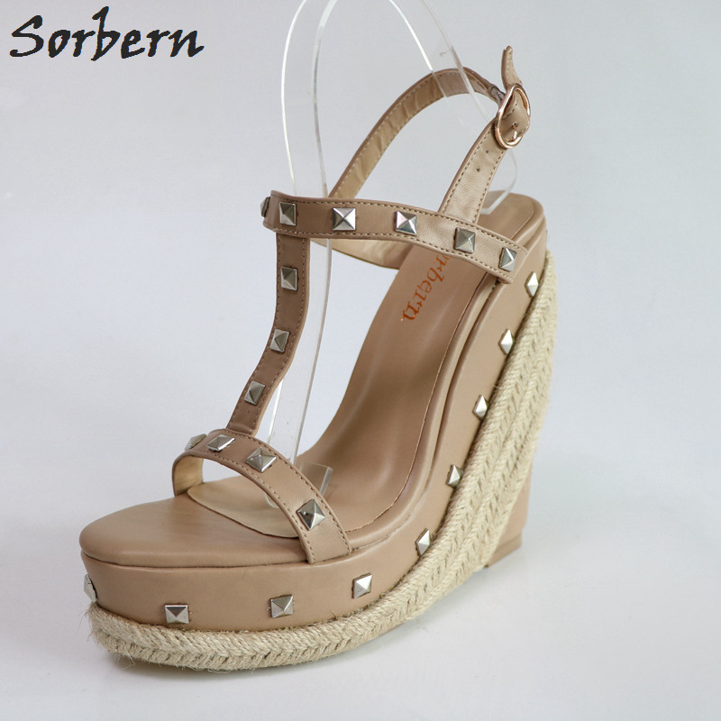 Sorbern Khaki T-Strap Women Wedge High Heels Summer Sandals For Ladies Platforms Sandals Wedges Shoes For Women Rivets New sorbern wine red t strap rivets rope wedge high heel sandals platform gold studs ankle strap summer sandals for ladies plus size