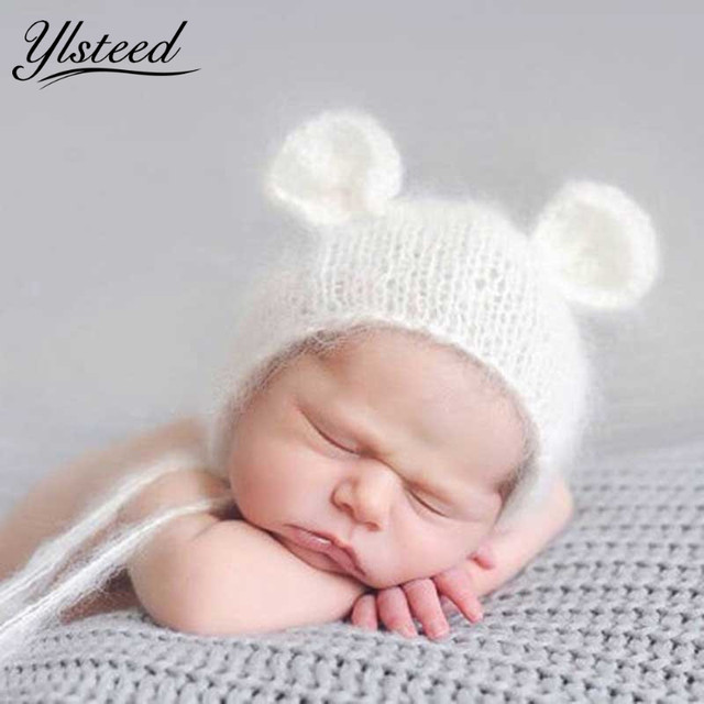 Newborn mohair ear bear hat newborn photography props baby cap gorro crochet knit soft mohair hats