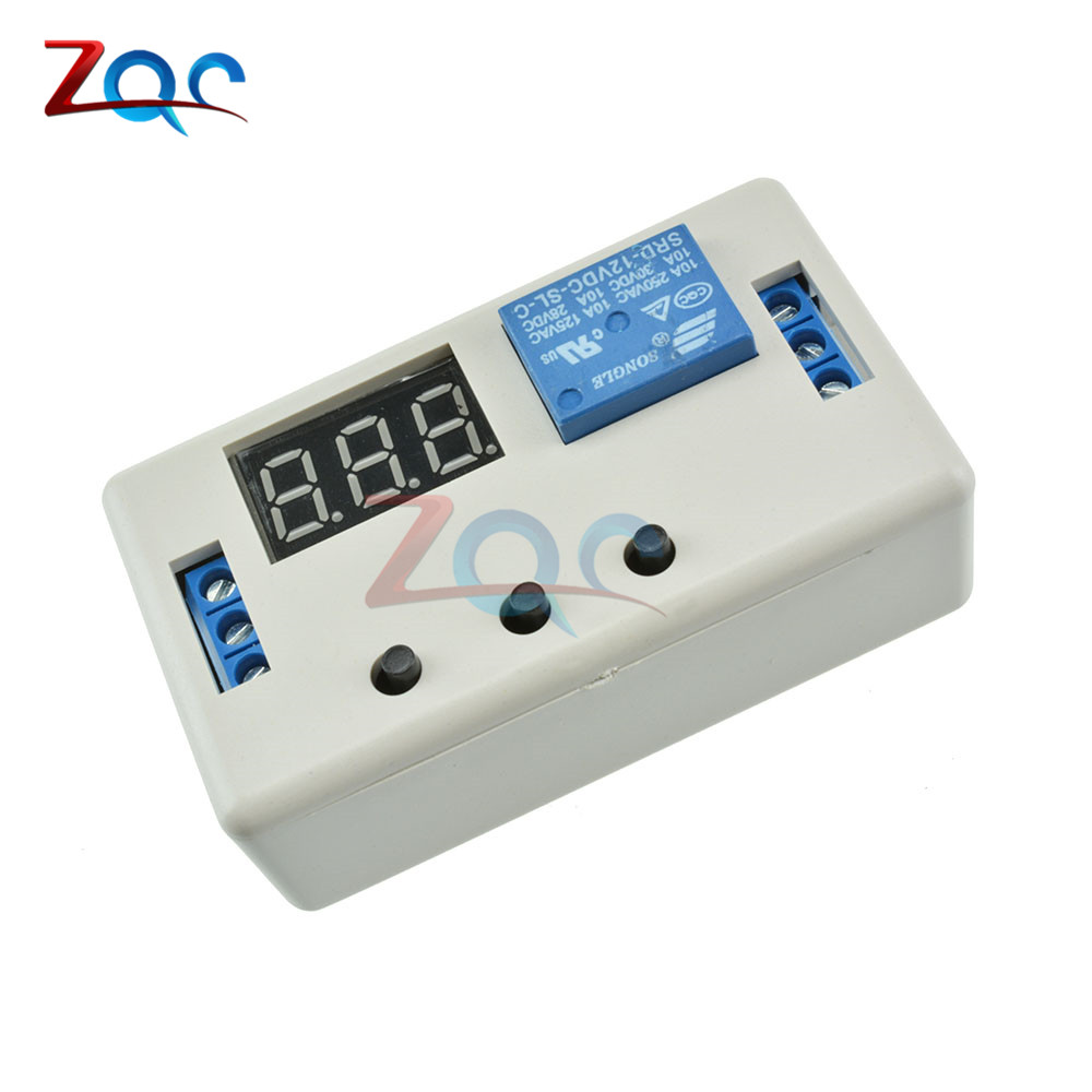 Digital LED Display Time Delay Relay Module Board DC 12V Control Programmable Timer Switch Trigger Cycle Module With Case 12v timing delay relay module cycle timer digital led dual display 0 999 hours