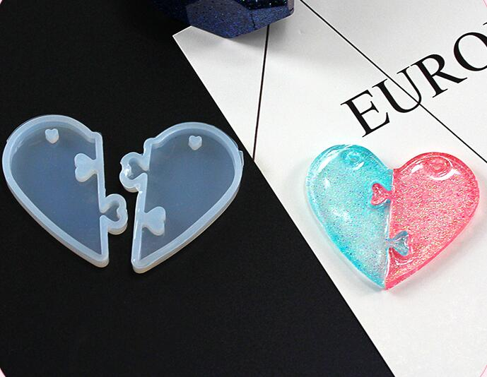 XCDIY  Silicone Mold For Heart-shaped Puzzle Pendant Resin Silicone Mould Handmade Tool DIY Craft Epoxy Resin Molds