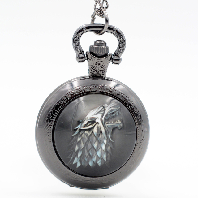 Game of Thrones House Stark Family Emblem Pocket Watch Pendant Necklace Jewelry