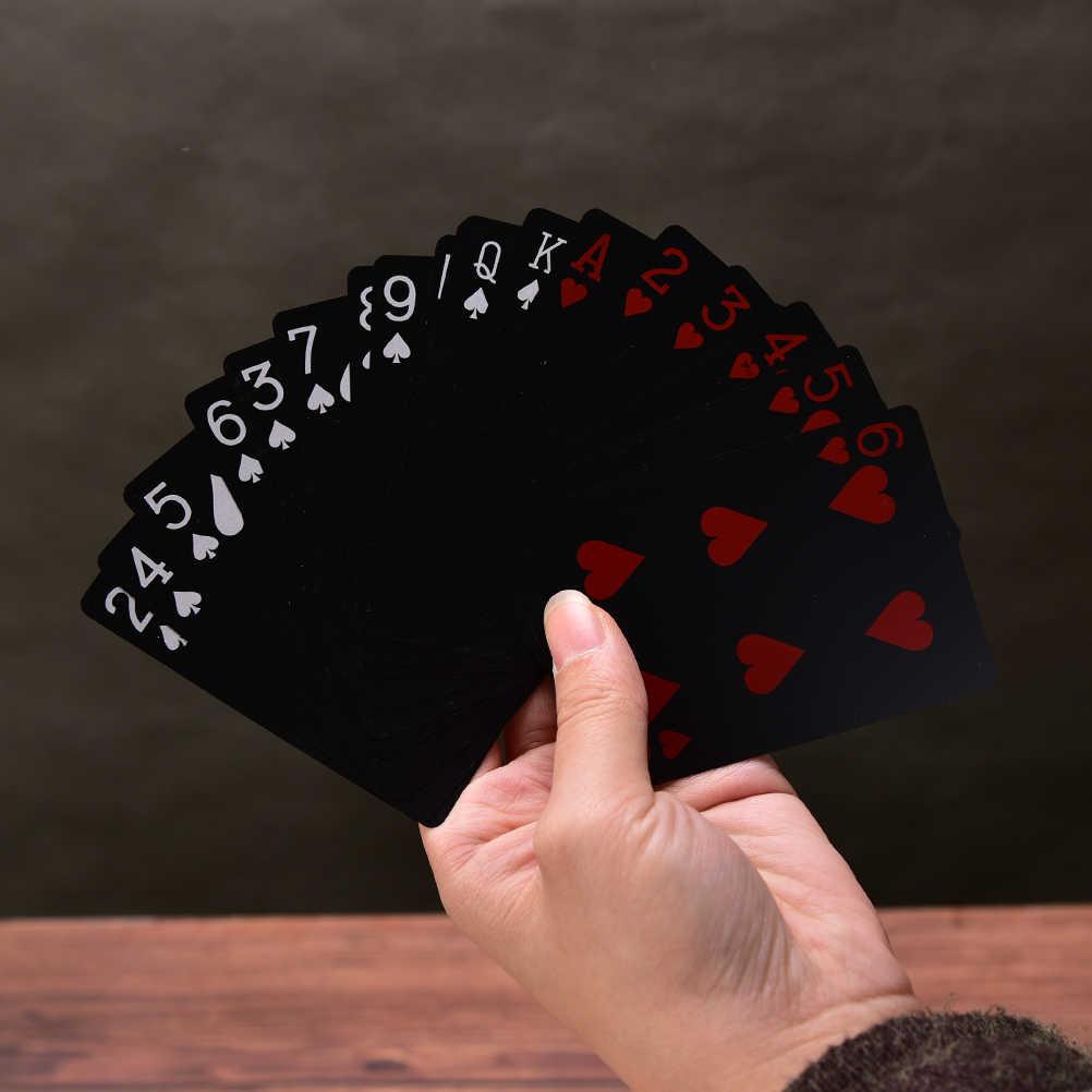 Neue Ankunft Wasserdichte Kunststoff Box Poker Schwarz Spielkarten Familie Spiel