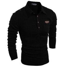 2017 Fashion Men's Polo Shirts Stylish Slim Fit Long Sleeve Casual Polo Shirts Solid Color Temperament Boy Tops Black Dark grey