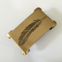 Retail 2016 Latest Styles Solid Brass Feather Cowboy Belt Buckle With Fashion Man Jeans Accessories Cosplay