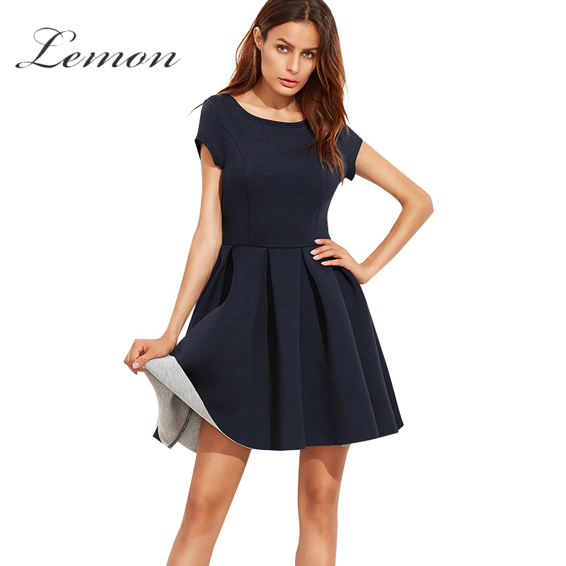 Lemon New font b Fashion b font Sexy Backless A line Dresses Navy Blue Casual Loose