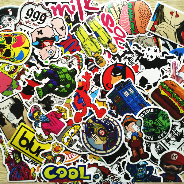 Lot 50pcs pack random car sticker skateboard luggage laptop guitar travel case cute stickers fashion funny sticker in car stickers from automobiles