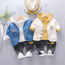 New Autumn Baby Boys Clothing Sets Toddler Infant Clothes Suits Coats Stripe T Shirt Pants Children Casual Costume Kids Suits new 2016 autumn children wear suits baby girls boys clothes sets camouflage color cotton coat t shirt pants infant casual suits