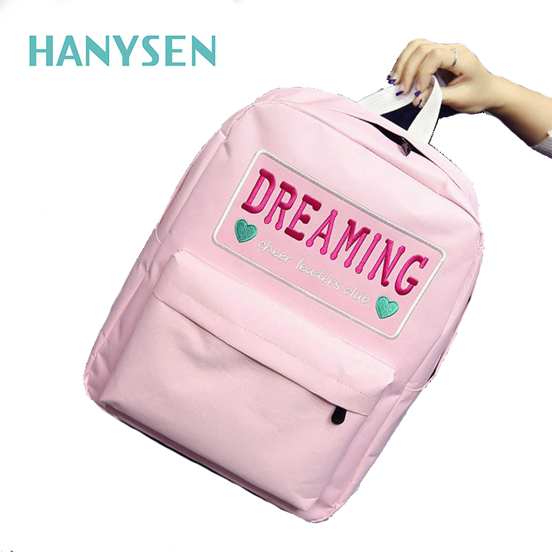 HANYSEN 2017 New Spring Panelled Embroidered Women Backpack Fashion Embroidered Letter Student Backpacks School Bag For
