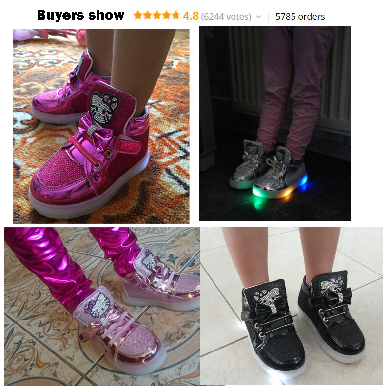 1624457bc80e светящиеся кроссовки детская обувь Мода Крюк Петля светодиодные обувь дети  свет