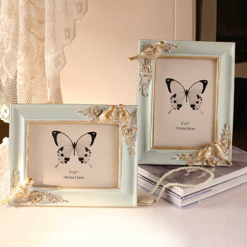 French elegant three-dimensional cute bird light blue gold retro old photo frame / horizontal picture frame / home decoration