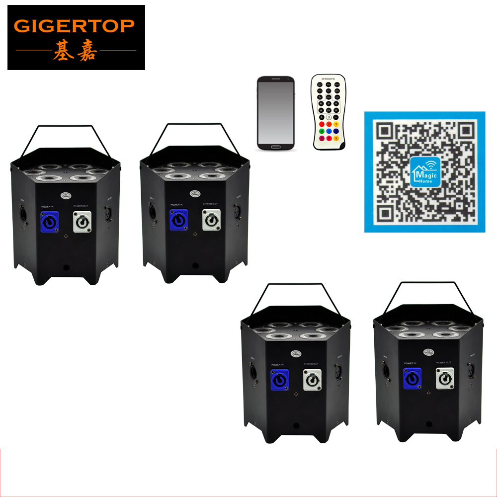 Freeshipping 4 Unit 6*6W RGBWAUV Wireless Remote Battery Led Par Light DJ Event Wedding+Transmitter Magic Home Phone App Control bts jung kook autographed signed photo wings 4 6 inches korean freeshipping 03 2017