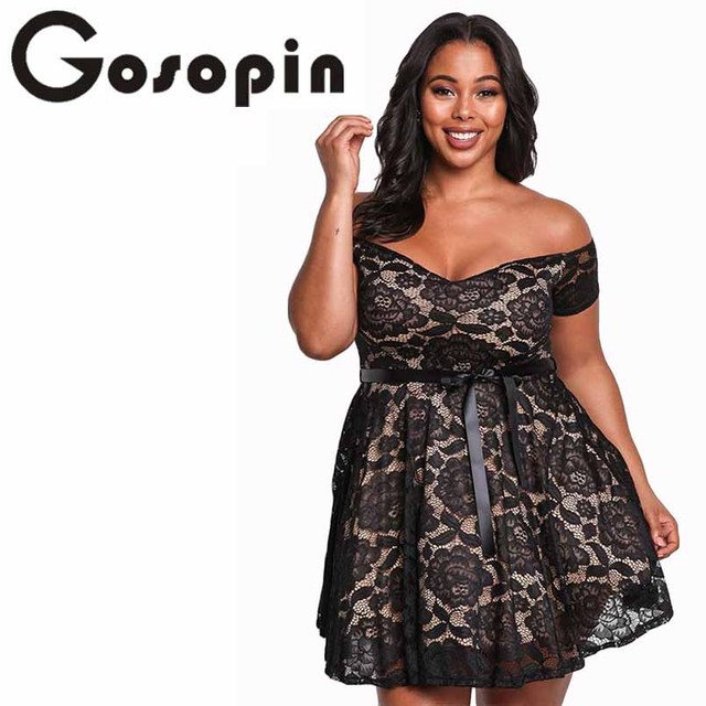 b5d4cc56b2d Gosopin Floral Lace Womens Plus Size Dresses Off Shoulder Mini Sexy Summer  Dress Black Large Size 2018 Skater Party Dress 220195
