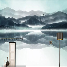 New Chinese abstract ink landscape bedroom wall