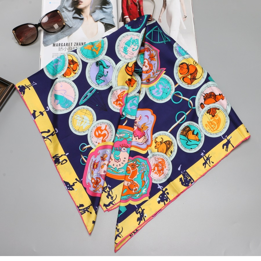 Zodiac Animals Prints Large Square 100% Silk Scarf Shawl for Women Fashion Scarves 88x88cm Hand Rolled Edges