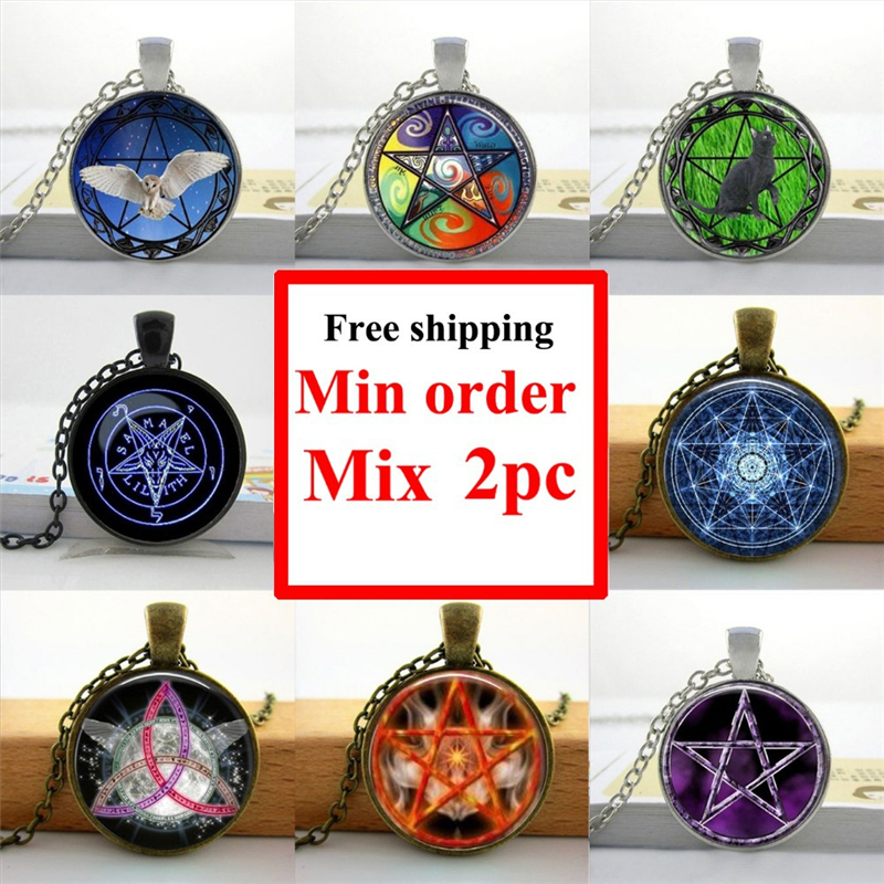 HZShinling Round Glass Necklace Wiccan Pentagram Necklace Alchemical Star Magic Sign Pendant Glass Dome Necklace Vintage HZ1