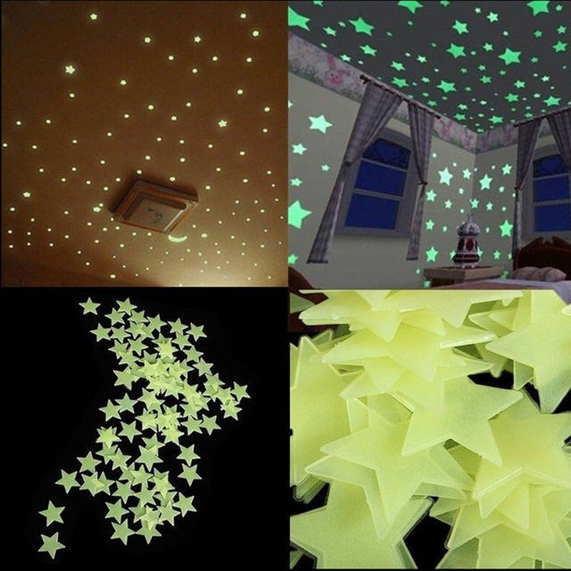HTB11UnjOXXXXXcBXFXXq6xXFXXXK - * 100 pcs. 3D stars glow in the dark Luminous on Wall Stickers for Kids Room living room  Wall Decal Home Decoration poster