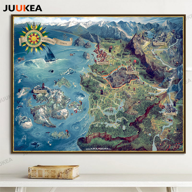 The Map of Witcher 3 Wild Hunt Art Canvas Print Painting Poster Huge ...