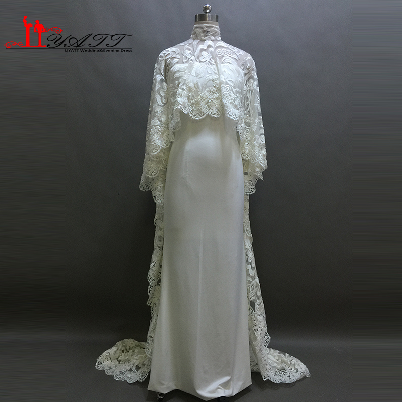 Real Picture 2016 Evening Prom Dresses Simple Cheap Ivory Two Pieces High Neck Spandex Lace Shawl Vintage Luxury LIYATT image