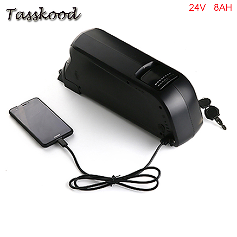Dolphin case 24V 8Ah E Bike li-ion Battery Pack used on 24V 250W motor Electric Bike Battery with charger and 5V USB hot sale bottom discharge electric bike 36v 8ah li ion battery 36v 8ah electric bicycle silver fish battery with charger bms