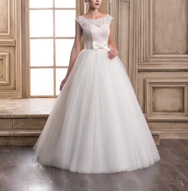 US $96.33 |Cheap Wedding Dresses Under 100 Plus Size Satin Bow Sashes  Alibaba Bridal Gowns Short Sleeve Vestido de noiva Robe de mariage-in  Wedding ...