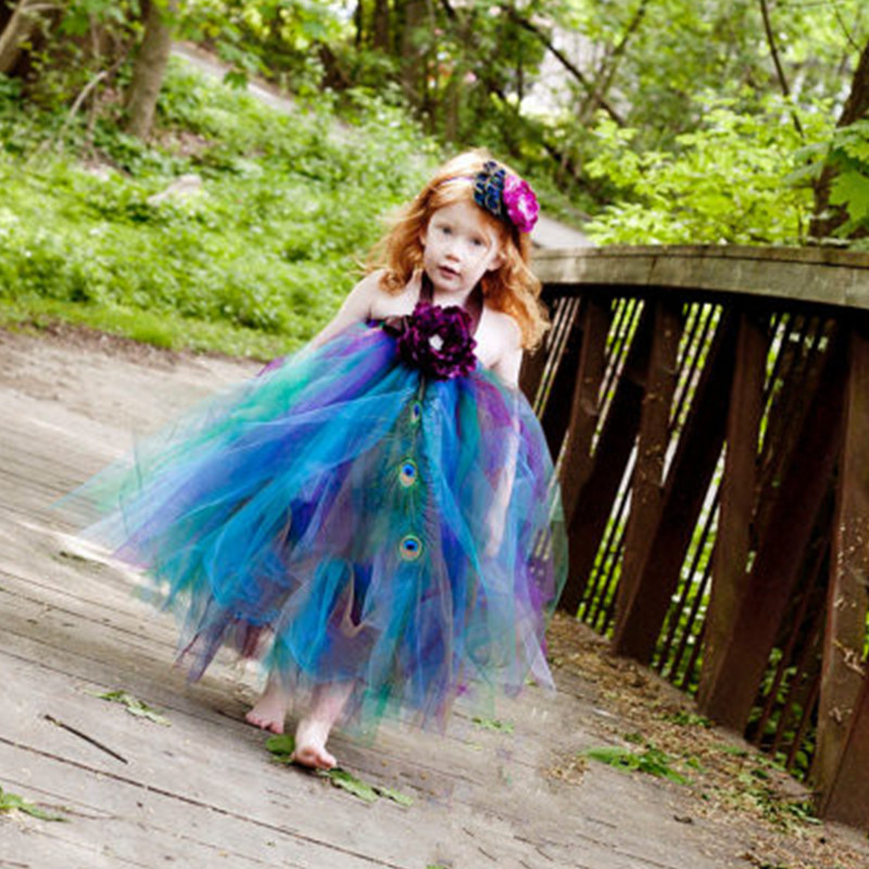 Cosplay Peacock Princess Tutu Dress Girls Party Dress Children Host Pageant Tulle Dress Ball Gown Kid Birthday Halloween Costume princess moana tutu dress for girls birthday party dress up children lace tulle flower girl dress kids halloween cosplay costume