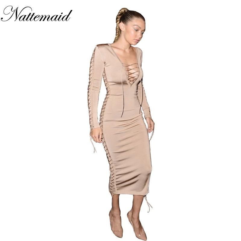 NATTEMAID 2015 latest kylie jenner bodycon dresses long sleeve midcalf long women dresses crisscross v neck sexy dress clubwear