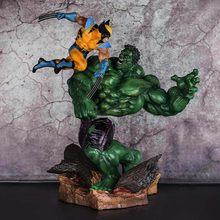 Anime marvel hulk vs wolverine estátua figura de ação 1/6 escala pintado figura pvc brinquedos para crianças