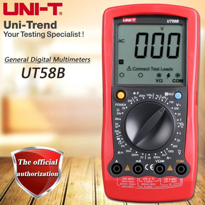 UNI-T UT58B Manual Digital Multimeter Resistor, Capacitance Test Table Diode / Triode Test Low Voltage Display Temperature Test uni t ut90c ut 90c low price best multimeter digital with lcd display